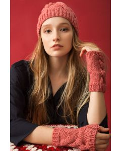 Cabled Fingerless Mittens and Hat Kit