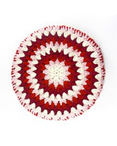 'SERINGA': Granny Circle Stool Cover- CANDY CANE