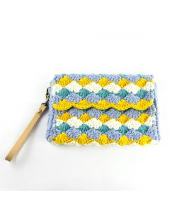 'OMA': Shell Stitch Clutch- SEASIDE SWING