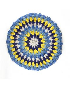 'SERINGA': Granny Circle Stool Cover- SUNBURST
